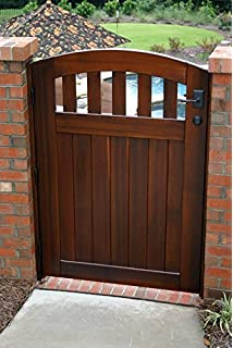 Signature Cedar Wood Gate Arched With Latch Hinges And Wood Jambs
