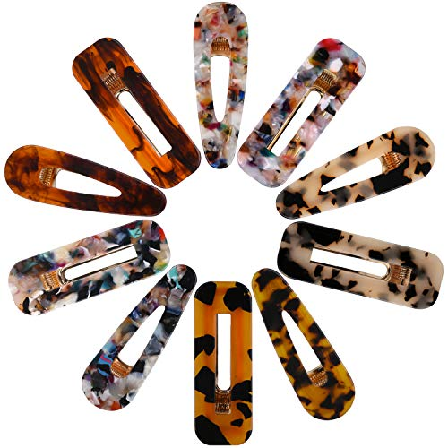 Hair Clips Set 10 Pcs Acrylic Resin Hair Barrettes Fashion Sweet Geometric Alligator Hair Clip for Women and Ladies Hair Accessories for Party Birthday Valentines Day Gifts -