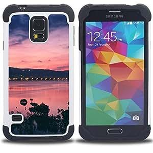 "Pulsar ( Sunset Bay Mar Océano púrpura"" ) SAMSUNG Galaxy S5 V / i9600 / SM-G900 V SM-G900 híbrida Heavy Duty Impact pesado deber de protección a los choques caso Carcasa de parachoques"