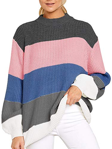 Valphsio Womens Striped Sweaters Pullover Oversized Chunky Crew Neck Color Block Jumpers