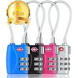 HT Luggage Locks Combination Password Locks Padlocks TSA Approved 3-Digit 4-Pack (Four Color)