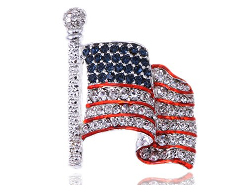 Silvery Tone Crystal Rhinestone USA Flag Brooch Pin -- July 4th Patriotic American Costume Jewelry