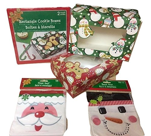 Christmas Holiday Baked Goods Gift Boxes 2 packs (4 boxes) and 2 packs of candy treat loot bags (36 bags) for candy, cookies, cupcakes