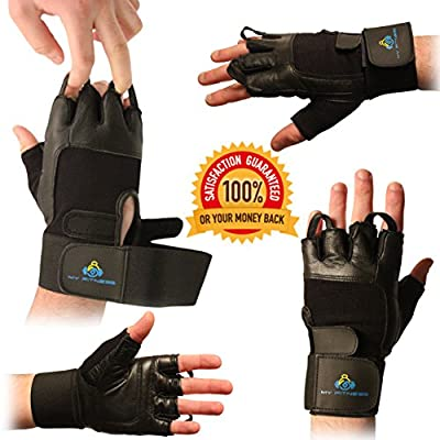 Extra Padded Weightlifting Gloves- Soft Leather With Easy Pull-Off Finger Loop-Wrist Strap For Extra Support-Double Stitched Glove & Palm- Breathable Mesh & Easy Tab Size Adjuster