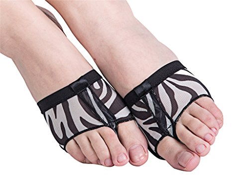 Zebra Jazz Shoes (Women's Lyrical Ballet Dance Foot Thong Toe Paws Half Sole Forefoot Pads Shoes(M, Zebra))