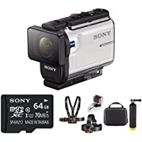 Sony HDRAS300/W HD Underwater Action Cam (White) w/ 64GB Hardshell Case Bundle