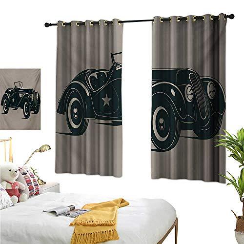 "Superlucky Drapes for Living Room,Cars,55"" x 63"",Classic Italian Model Nostalgic Car 50s Star Sign Pop Art Hobby Old-Fashion Image,Suitable for Bedroom Living Room Study, etc."