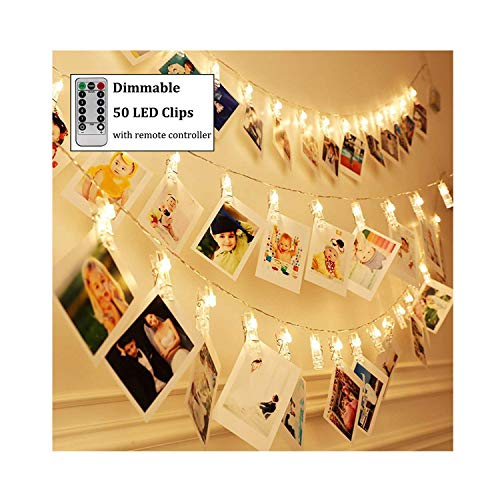Dimmable 50 LED Photo Clips String Lights Holder with Remote & Timer Function, Home/Party/Christmas Decor Lights for Hanging Photos Pictures, Memos and Artwork, Warm - Novelty Photo Holder