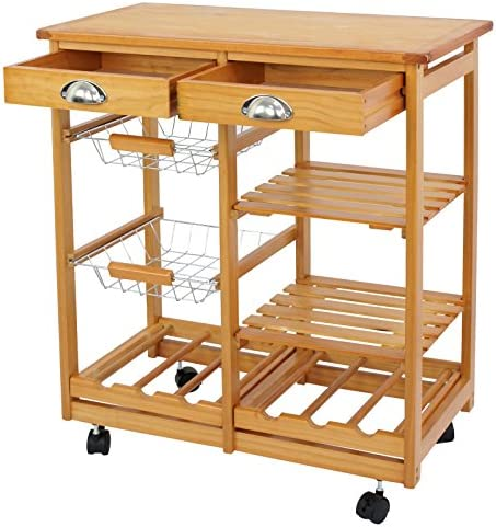 Nova Microdermabrasion Rolling Wood Kitchen Island Storage Trolley Utility Cart Rack w/Storage Drawers/Baskets Dining Stand w/Wheels Countertop Wood Wood Top