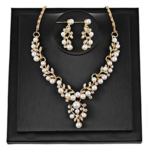 Botrong Women Wedding Pearl Rhinestone Short Necklace Earrings Jewelry Set (Gold) (Memorial Coin Gold)