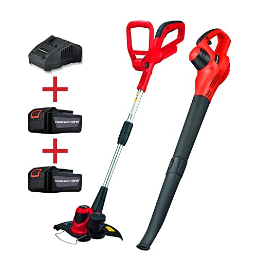 PowerSmart PS76115A 18V Lithium-Ion Cordless String Trimmer Edger and Blower Combo Kit Include Two Batteries and Charger