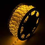 WALCUT Flexible 150FT Crystal Clear PVC Tubing LED Rope Light Indoor/Outdoor Boat Decorative Party Christmas Holiday Business Restaurant Light Kit 110V (Yellow)