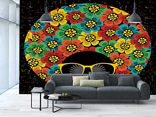 Large Wall Mural Sticker [ 70s Party Decorations,Abstract Woman Portrait Hair Style with Flowers Sunglasses Lips Graphic Decorative,Multicolor ] Self-adhesive Vinyl Wallpaper / Removable Modern -