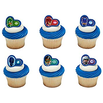 Image Unavailable Not Available For Color 24 Pj Masks Heroes And Villians Rings Cupcake Cake Toppers Birthday