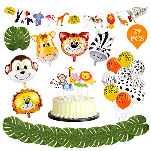 Animal Decorations Safari Party Supplies - FengRise Jungle Theme Party Supplies Safari Party Decorations Pack of 29, Jumbo Animal Head Balloons Latex Print Balloon and Safari Banner for Birthday Party