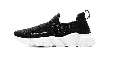 Stretch Noir Balenciaga Trainer Knit De Speed Low Blanc Chaussures 54RAjL3
