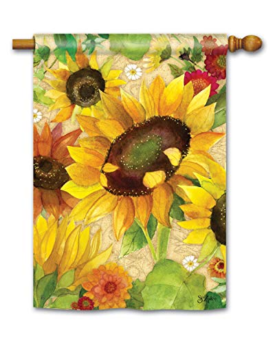 BreezeArt Studio M Yellow Sunflower Fall Standard House Flag Banner - Premium Quality, 28 x 40 Inches ()
