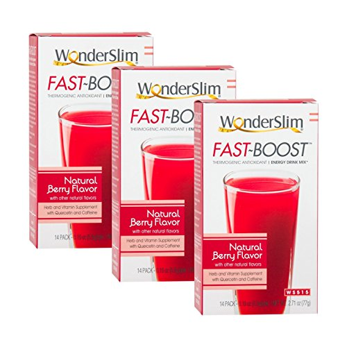 FAST BOOST Thermogenic Energy Boosting Powder Drink Mix by WonderSlim - Antioxidant Drink Mix - With Green Tea, Ginseng, Quercetin and Gingko Biloba – Natural Berry Flavor - 3 Boxes - Energy Antioxidant Drink