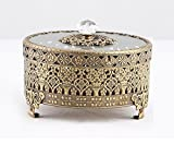 Vintage Round Jewelry Decorative Trinket Box Ring box Antique Metal Case 3.8 inch