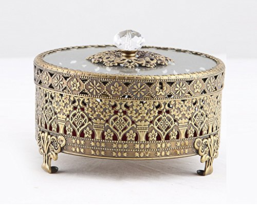 Vintage Round Jewelry Decorative Trinket Box Ring box Antique Metal Case 3.8 inch (Brass (Matt Gold), -
