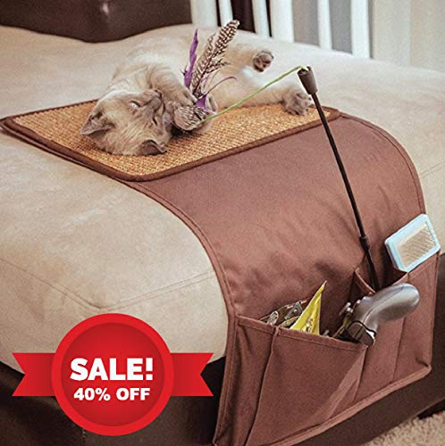 Leather Catnip Toys - snowpaw July 4th Deal Cat Scratcher with Cat Toy Storage & Remote Control Holder, Sisal Scratcher, Cat Scratcher Pad, Cat Scratcher Protector, Furniture Protection, with Free Organic Catnip