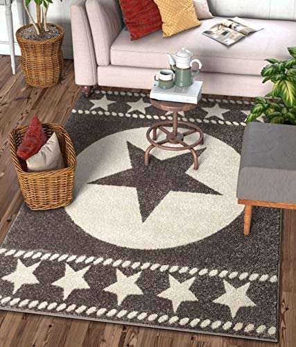 Well Woven Caspian Lone Star Brown Texas Area Rug 8×11 7'10″ x 9'10″