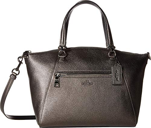 COACH Women's Metallic Leather Prairie Satchel Gunmetal/Metallic Graphite One ()