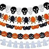 Halloween Paper Garlands, Kicpot 5 Pack Halloween Decoration Prop Pumpkin Spider Bat Ghost Skull Shape