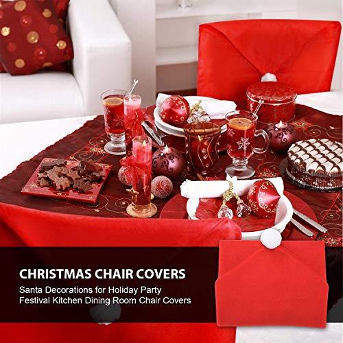 AMFOCUS Christmas Chair Back Cover Santa Claus Hat Slipcovers Decoration 6 Pcs, 2018 Upgraded Design