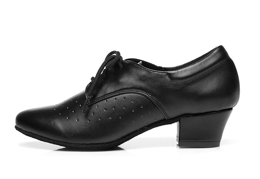Qiusa Frauen Lace-up atmungsaktiv Block niedrigen Ferse Ballroom Latin Dance Dance Dance Schuhe schwarz UK 5 (Farbe   - Größe   -) f0b664