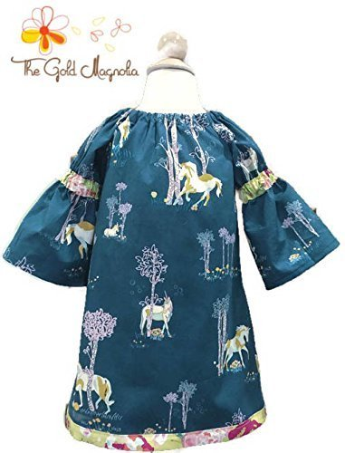Girls Unicorn Peasant Dress