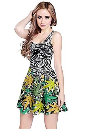 CowCow Womens Black Abstract Cannabis Marijuana Sleeveless Dress, Black - XS