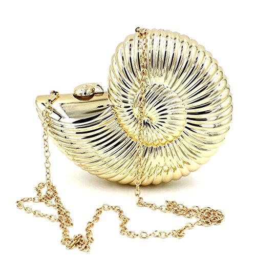 WEDDINGHELPER Women Acrylic Sea Snail Shape Evening Bags Purses Clutch Vintage Banquet (Gold)