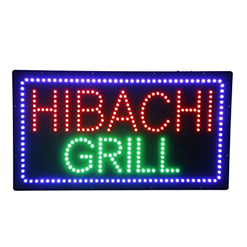 LED Hibachi Grill Open Light Sign Super Bright Electric Advertising Display Board for Pizza Kebab Burger Hot Dogs Curries Restaurant Business Shop Store Window Bedroom 24 x 12 inches ()