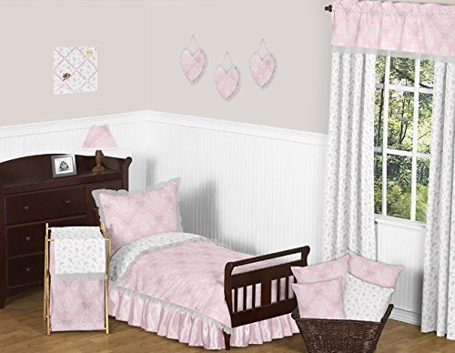 Sweet Jojo Designs 5-Piece Pink, Gray and White Shabby Chic Alexa Damask Butterfly Girls Toddler Bedding Set