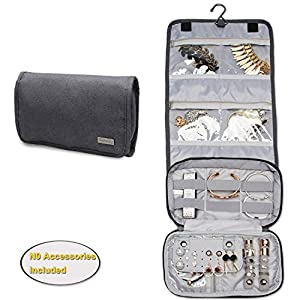 Teamoy Jewelry Roll Bag, Hanging Travel Jewelry Organizer Case with Multiple Compartments and Hooks for Rings, Necklaces, Earrings, Bracelets and More-NO Accessories Included, Gray