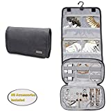 jewelry bag organizer - Teamoy Jewelry Roll Bag, Hanging Travel Jewelry Organizer Case with Multiple Compartments and Hooks for Rings, Necklaces, Earrings, Bracelets and More-NO Accessories Included, Gray