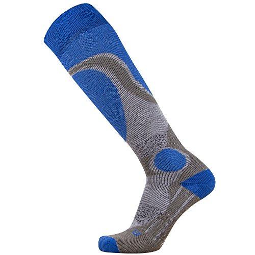 Pure Athlete Elite Ski Socks – Lightweight Merino Wool Warm Skiing Sock for Men and Women (M, Blue)