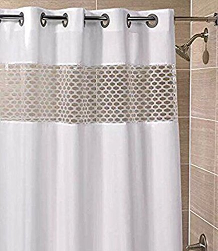 Hampton Inn Hilton Hotels Exclusive Hookless Washable Fabric Shower Curtain With See Through Panel   Vision White   71 X74