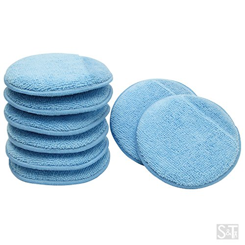 Viking Car Care 426201 Microfiber Applicator Pads with Finger Pockets – 5 Inch Diameter, Blue, 8 Pack