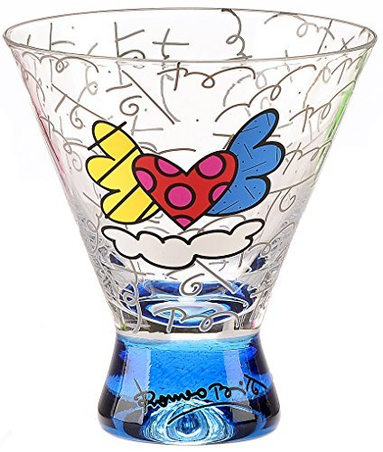 i Glass - Blue Base, Graphic Pattern with Flying Hearts Design ()