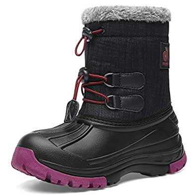 Kids Snow Boots Boys & Girls Winter Boots Waterproof Cold Weather Outdoor Boots  (Toddler/Little Kid/Big Kid) Size: 1 Little Kid