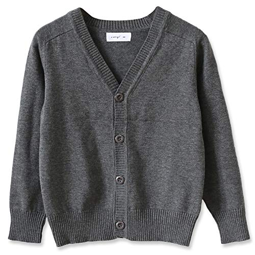 CUNYI Little Boys Button-up Cardigan V-Neck Cotton Knit Sweater Casual Outerwear, Dark Grey, 140