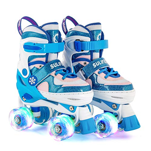SULIFEEL Rainbow Unicorn 4 Size Adjustable Light up Roller Skates for Girls Boys for Kids (Frozen Blue, Small(Y9-12 US))