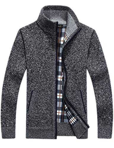 (Liengoron Men's Casual Slim Full Zip Thick Knitted Cardigan Sweaters with Pockets (Dark Gray, X-Small))