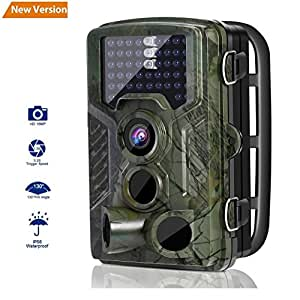 Wildlife Camera, LESHP Trail Hunting Game Camera No Glow 12MP 1080P Motion Activated w/ 120°Infrared Night Version, 2.4'' LCD Display, IP56 Waterproof Design for Animal/Event Observation Surveillance