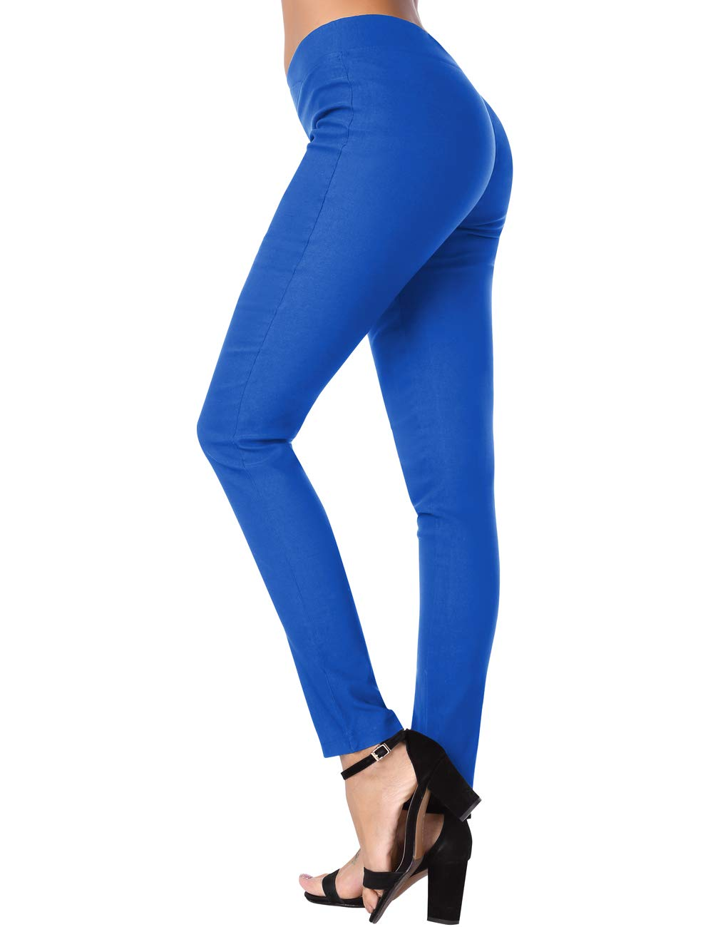 Slim Pants for Women, DJT FASHION Women's Stretchy Trousers Solid Skinny Jeggings Business Office Wear Blue XL