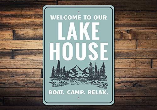 Dozili Lake Scene Sign Lake House Decor Lake House Sign Welcome Lake Sign House Welcome Sign Lake Lover Gift Quality Aluminum 8