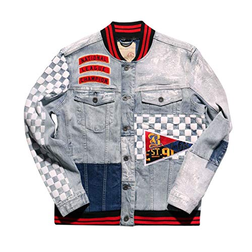 Smoke Rise Men's Varsity Denim Jacket, Checker, Medium ()