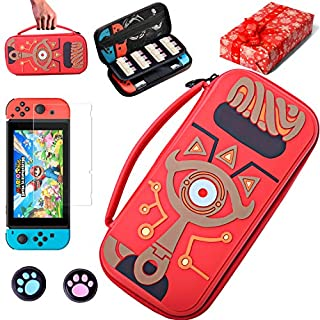 KJ-KayJI Switch Zelda Carrying Case Compatible Nintendo Switch,Sheikah Slate Silicone Embossed Case,with Screen Protector and 2 Thumb Grip,for Nintendo Switch & Joy-con & Cable and More Accessories
